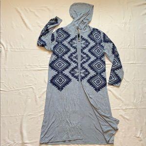 Lightweight Knit Duster w/ Hood-2X